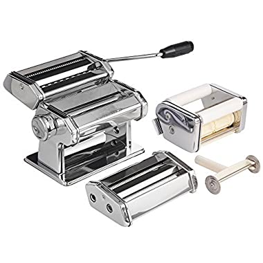 VonShef 3 in 1 Stainless Steel Pasta Maker with 3 Cut Press Blade Settings and Table Top Clamp and FREE Pasta Measuring Tool