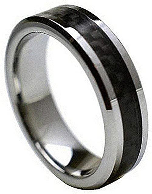 6mm Tungsten Carbide High Polish with Black Carbon Fiber Inlay Wedding Band Ring for Men Or Ladies