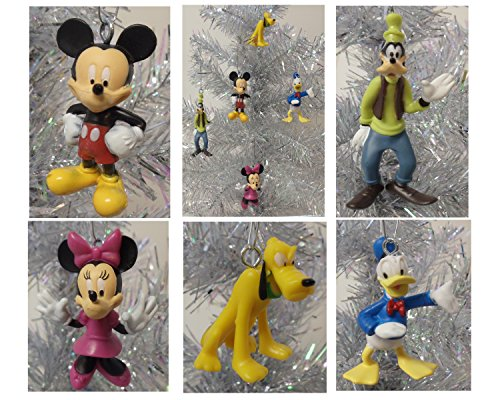 Mickey Mouse Clubhouse 5 Piece MINI Holiday Christmas Ornament Set Featuring Mickey Mouse, Minnie Mouse, Pluto, Donald Duck and Goofy - Shatterproof Ornaments Range from 1.5