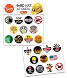 Hard Hat Stickers | Construction Workers, Motorcycle Helmets, Mechanics, Electricians | Set of 22 Hilarious WATERPROOF Stickers | Tool Box, Lunch Box and Water Bottles too!