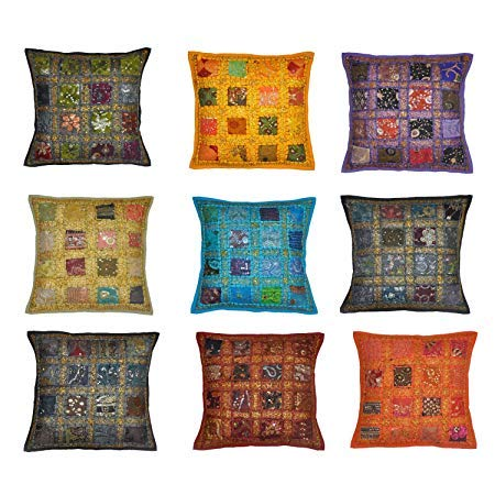 Third Eye Export 10 Pc Lot Square Embroidered Sequine Patchwork Home Decor Cushion Cover Indian Sari Chindi Pillow Cover Handmade 16 Box Cushion Covers Set 16X16 Inches (Cushions Throw Pillows Sari)