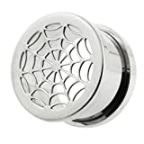 Cut out Spider's web 316L Surgical Steel Screw Fit Flesh Tunnels
