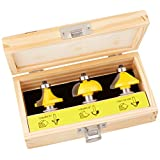 Yonico 13312 3 Bit Edging Router Bit Set with Large Roundover Cove and Chamfer 1/2-Inch Shank