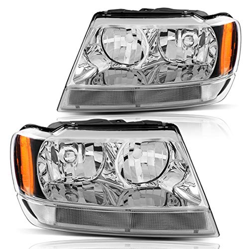 Headlight Assembly for 1999 2000 2001 2002 2003 2004 Jeep Grand Cherokee,OE Chrome Housing Headlamp