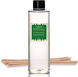 Urban Naturals Balsam Forest Oil Reed Diffuser Refill with Free Set of Reed Sticks – Fragrance Notes of Fir, Evergreen, Pine, Woodsy Cedar and Sandalwood – Vegan, 4 oz Made in The USA