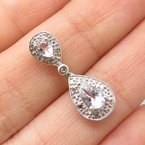 925 Sterling Silver Real Diamond Baby Blue Topaz Gem Raindrop Slide Pendant Jewelry Making Supply by Wholesale Charms