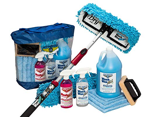 Aero Cosmetics Waterless RV Aircraft Boat Wash Wax Mop Kit, No Ladder Needed, Wash, Wax, Dry, Anywhere, Anytime, No Restrictions