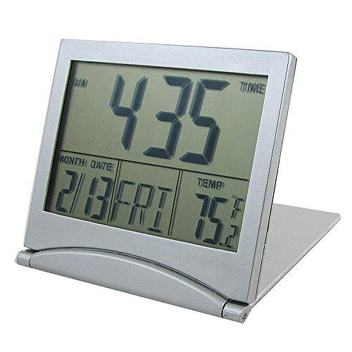 Digital Alarm Clock - Silver Foldable Battery Supply Desktop