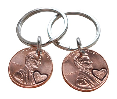 Double Keychain Set 2006 Penny Keychains With Heart Around Year; 13 year Anniversary Gift, Engraved Couples -