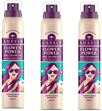 Aussie Dry Shampoo Three Pack Waterless Hair Cleaning Spray Summer Flower Power Fragrance Light Floral Aroma Instant Refresh With No Visible Residue For All Hair Types Limited Edition Design 180ml Amazon Co Uk Beauty