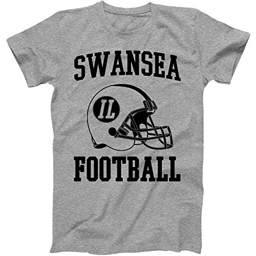 Swansea City Football - Vintage Football City Swansea Shirt for State Illinois with IL on Retro Helmet Style Grey Size Small