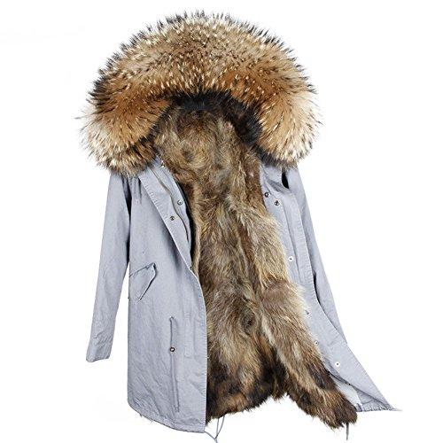 Vento Belle Marrone A Con Giacca In Vannes Rimovibile Pelliccia Cappotto Militare Blu Fodera Parka Donne Per InBqIUrx