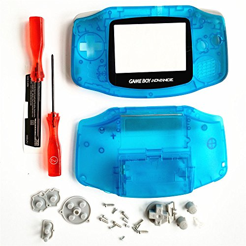 - Clear Blue Full Housing Shell Case Cover Buttons Conductive Pad Screwdriver Screen for Game Boy Advance GBA Console