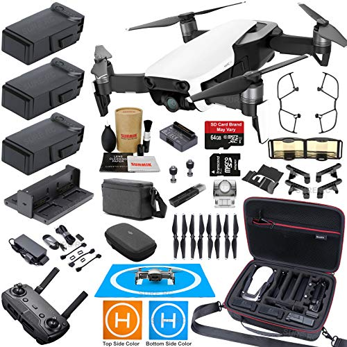 DJI Mavic Air Fly More Combo (Arctic White) Elite Bundle with 3 Batteries, 4K Camera Gimbal, Professional Carrying Case and Must Have Accessories