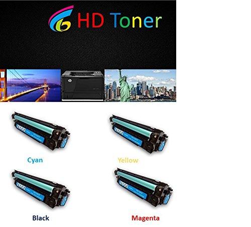 HD Toner © 4-Pack Toner Cartridge Replacement for HP CE400A, CE401A, CE402A, CE403A (BLACK CYAN MAGENTA YELLOW) for HP Color LaserJet Enterprise printer M551dn, M551n, M551xh (Toner Cyan 4k)