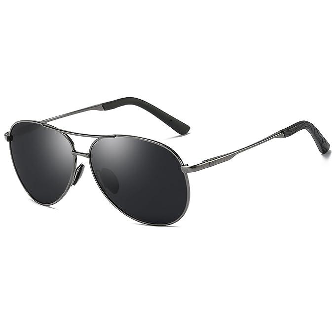 4b55ba838ef93 Aviator Sunglasses for Men Polarized uv Protection Unisex Premium Military  Fishing(Gun Grey)