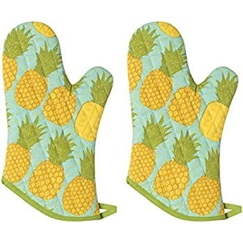 Now Designs Basic Oven Mitt, Pineapples - 6.5 x 13 in | Set of 2