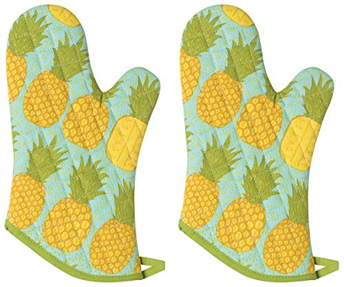 Now Designs Basic Oven Mitt, Pineapples, Set of 2 ()