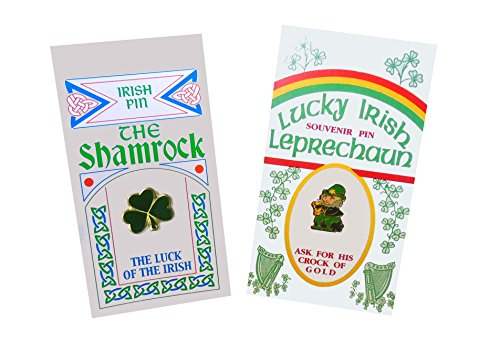 Set of Two Pins: Irish Leprechaun and Lucky Shamrock