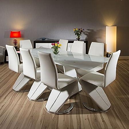 Moderno blanco juego de comedor de cristal extensible mesa + ...