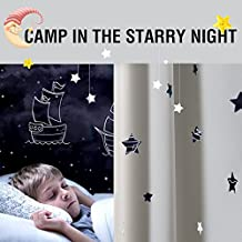 Nursery Blackout Curtains for Living Room 92 inch Length Back Tab Curtain Panels Thermal Insulated Curtains White Star Cut Out Kids Room Darkening Draperies for Bedroom Window Curtains 1 Pair