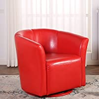 Belleze Round Swivel Base Modern Style Barrel Cushion Padded Tub Chair Comfort Style with Arm Rest, Red