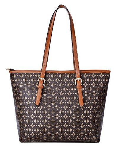 Coofit Borse Donna PU in Pelle Borse Moda a Tracolla Borsa Shopper Tote Bag (Brown)