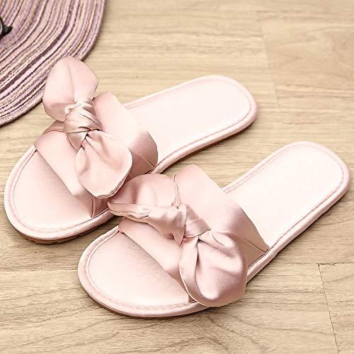 Sandalias Mujer Zapatillas Pink 40 Antideslizantes De Para Lazo 35 39 Zapatillas 36 grey Caseras Hong Satén Jia Transpirables wvqZXPT