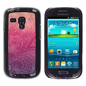 FlareStar Colour Printing Floral Indian Pattern Peach Purple cáscara Funda Case Caso de plástico para Samsung Galaxy S3 III MINI (NOT FOR S3!!!) / i8190 / i8190N