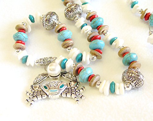 Turquoise and Red Beaded Necklace with Coral and Wood Beads and a Crab Pendant