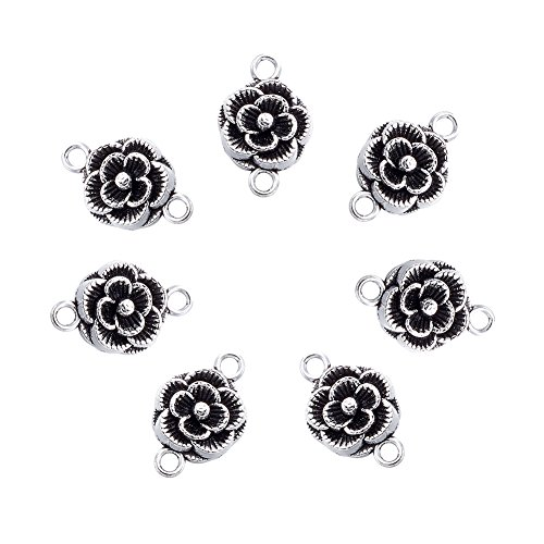Beadthoven 20pcs Tibetan Style Flower Antique Silver Connectors Link, Flower Connector for Jewelry Making Necklaces Bracelets Earrings,Lead Free and Cadmium Free ()