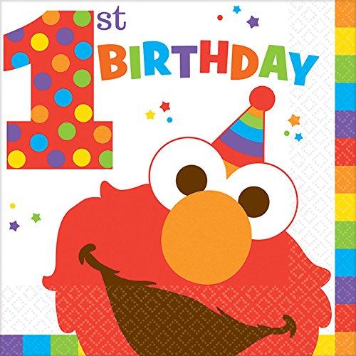 Sesame Street Faces - Sesame Street 1st Birthday 'Elmo Turns One' Lunch Napkins (16ct)