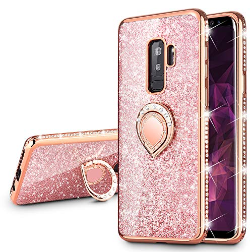 VEGO Galaxy S9 Plus (Not S9) Glitter Case with Ring Holder Kickstand for Women Girls Bling Diamond Rhinestone Sparkly Bumper Fasion Shiny Cute Protective Case for Samsung Galaxy S9 Plus (Rose Gold)