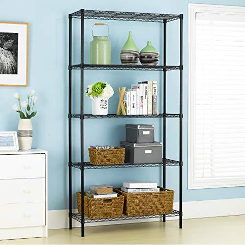 PayLessHere Black 5 Shelf Adjustable Steel Shelving Systems Wire Shelves Garage Shelving Storage Racks