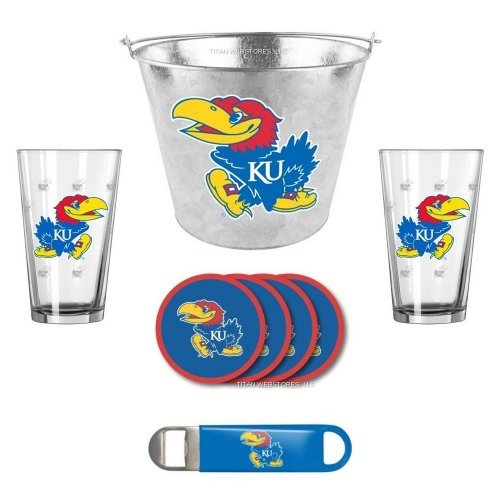 NCAA Kansas - Galvanized Ice Pail, Pint Glasses (2), Coasters (4) & Bottle Opener Set | KU Jayhawks Beer Bucket Gift Set (Etch Bucket Satin)