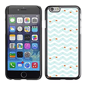 Soft Silicone Rubber Case Hard Cover Protective Accessory Compatible with Apple iPhone? 6 (4.7 Inch) - blue white fish sea pattern