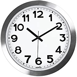 Silent Wall Clock, HIPPIH12 Inch Quiet Non-Ticking Office Wall Clocks, Silver Aluminium Decorative Clocks for Bathroom/Kitchen/Home/School/Gym, Battery Operated