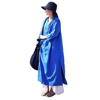 Aeneontrue Women's Cotton Linen Long Loose Wrap Kimono Cardigans Coat Short Sleeve Dress at Amazon Women's Coats Shop