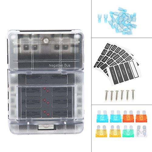 Car Blade Fuse Holder Box, Keenso Automotive Circuit Fuse Block Blade Fuse Negative Bus Bar Screw Terminal DC32V 100A for Auto Car Truck Boat
