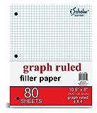 iScholar Quad Filler Paper, 4 Squares per Inch, 10.5 x 8 Inches, 80 Sheets (24844)