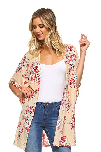 Frumos T4141 Womens Open Front Short Sleeve Printed Cardigan Tan Magenta Small