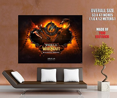 WoW World of Warcraft Warlords of Draenor Fire Logo Game Fan Art 63x47 HUGE GIANT Poster Print (World Of Warcraft Warlords Of Draenor Cheap)