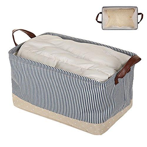 - Interlink-UK Collapsible Fabric Storage Baskets Foldable Storage Bin Organizer for Shelves Bedroom, Closet, Toys, Laundry Navy Blue