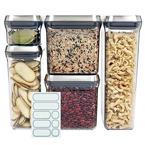 OXO SteeL 5-Piece Airtight Food Storage POP Container Set with 5 Labels