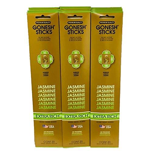 Gonesh Incense Sticks Extra Rich Collection: Jasmine 12 Pack (20 Sticks/pack) ()