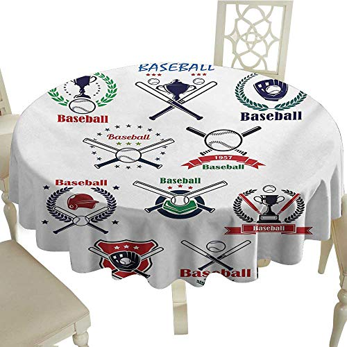 Round Tablecloth Cotton Sports,Baseball Gloves Balls Crossed Bats and Trophy Cups Stars Emblem Sports Design,Indigo Red Green D60,for Bistro Table 1/2 Inch Ball Glove