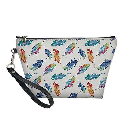 Feather Useful Cosmetic Bag,Watercolor Bird Feathers with Soft Color Palette Native American Inspirations Print for Travel (Birds Of A Feather Flock Together Proverb)