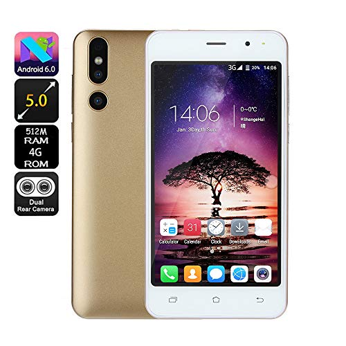 (Unlocked Android Cell Phones | 5 inch Dual SIM, Dual HD Camera Smartphone 512M RAM 4G ROM GSM 3G Mobile Phone WiFi Cellphones (Gold))