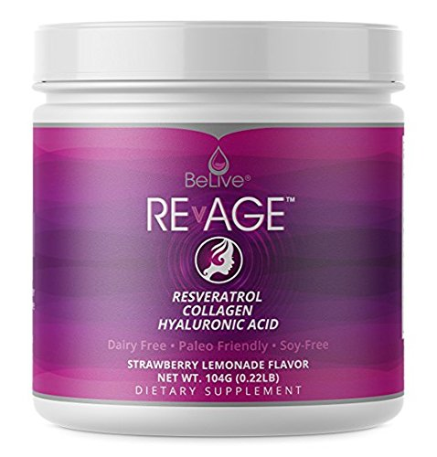Collagen Peptides Hydrolysate Proteins Powder - with Resveratrol, Hyaluronic Acid, Vitaberry| Paleo Friendly, Grass Fed, and Antioxdiant Boost | Strawberry Lemonade Flavor - RevAge (0.22LB) by BeLive