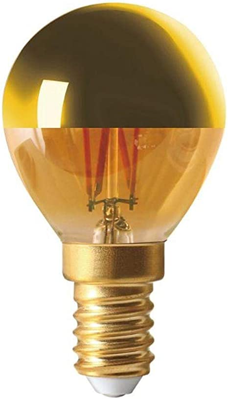Bombilla de filamento LED E14 4 W esférica capa dorada Dimmable ...